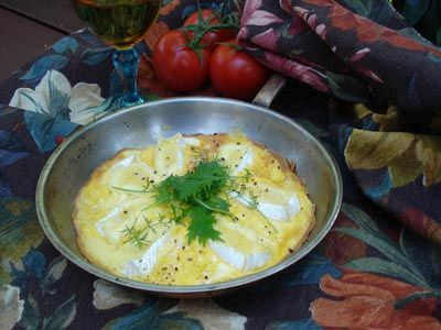 Open Omelette with Camembert, Oven-Roasted Tomatoes and Rocket