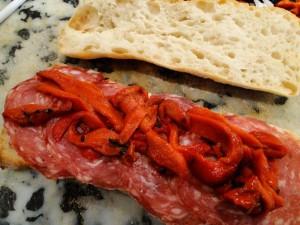 Salami and roasted capsicum panini