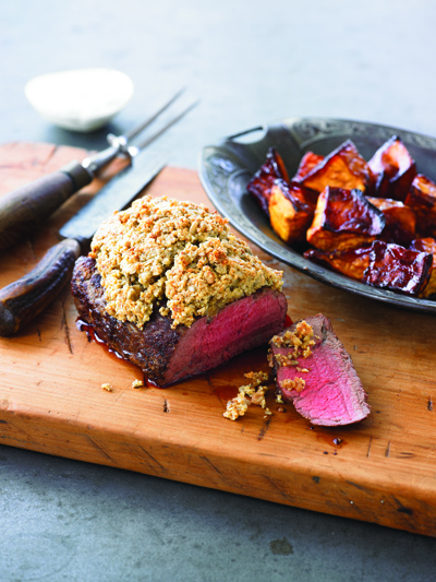 Crusted Beef with Sticky Sweet Potato and Mustard Cream