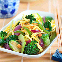 Green Vegetable and Noodle stir-fry