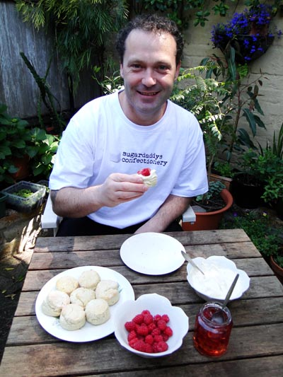 Brent Templeton with freshly baked scones and 'Sugardaddys' Rose Petal Jelly