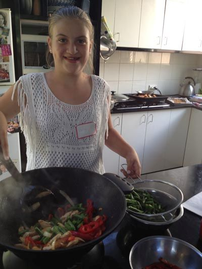 Eloise Moore, daughter of celebrity chef Michael Moore, stir-frying in my kids cooking class yesterday