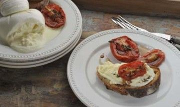 Bruschetta with Roasted Tomatoes and Burrata