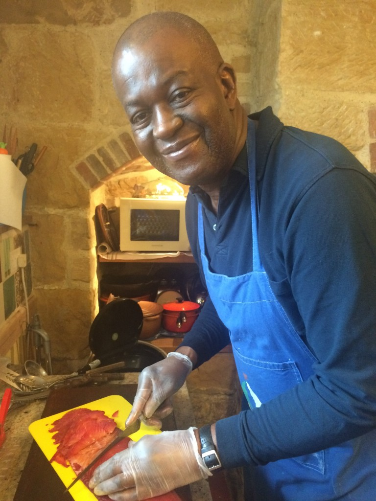 Baz slicing the beetroot-cured salmon