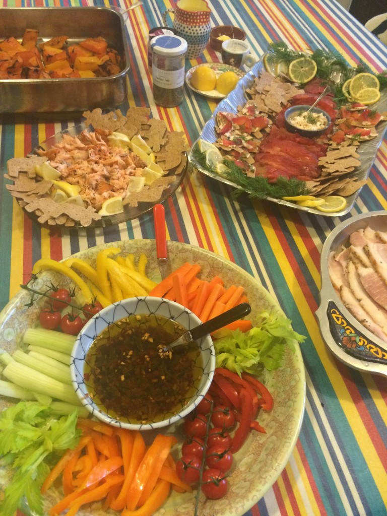 Christmas crudités with anchovy-garlic dipping oil; hot-smoked salmon; beetroot-cured salmon; leg ham