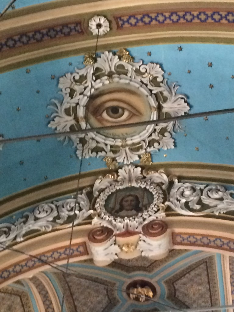 Agia Paraskevi's (St Friday's) eye on the ceiling of the main church in the village
