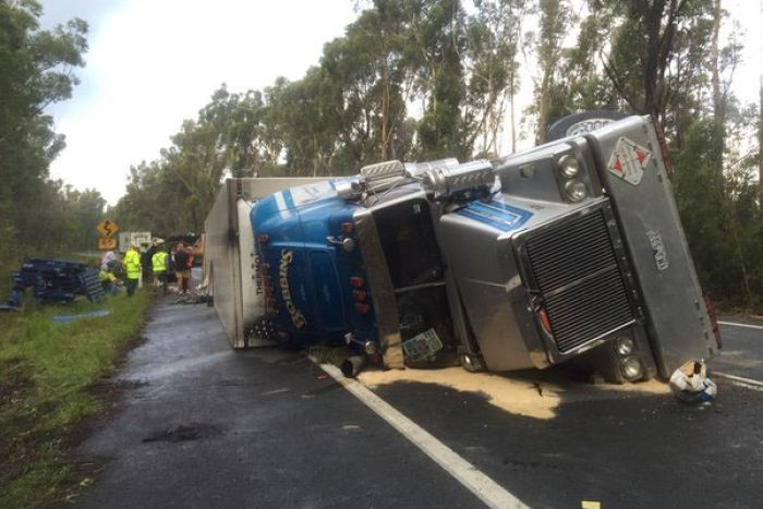 Overturned truck on the Princes Highway