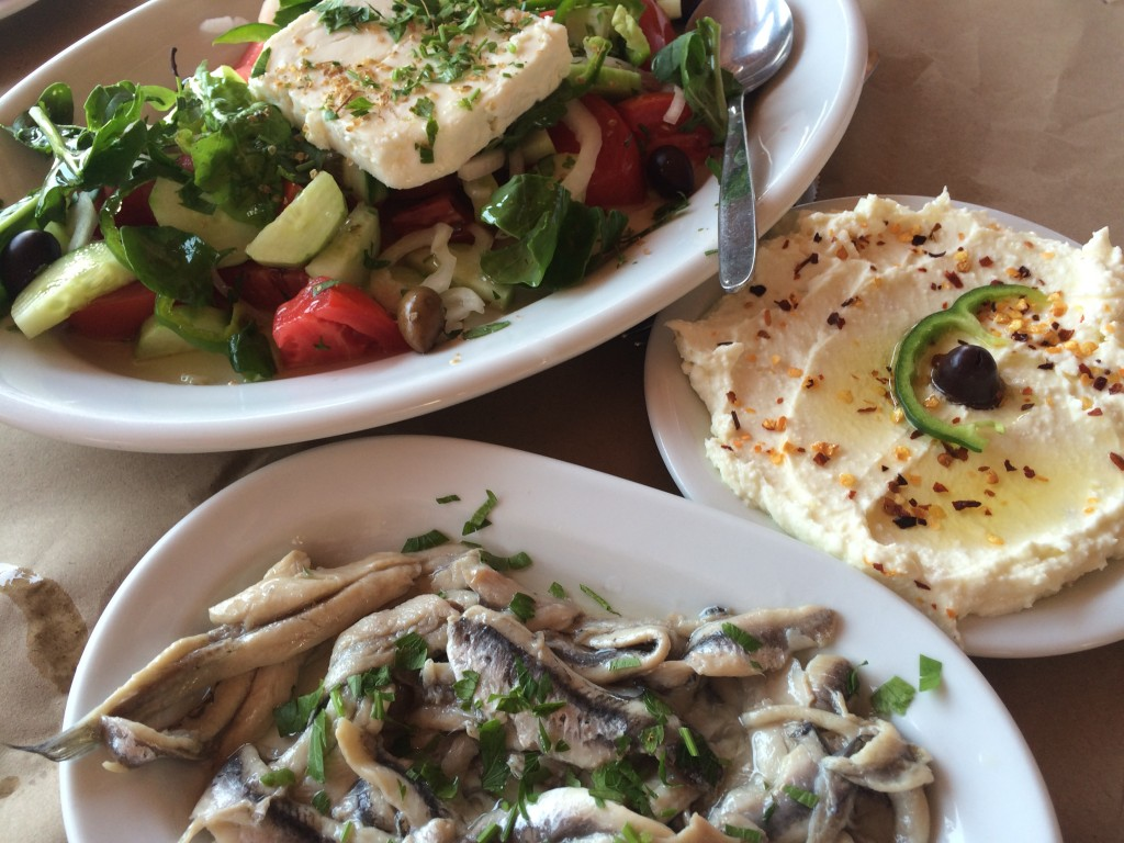 Greek Salad, taramasalata and pickled anchovies at Soulatso Tavern, Eressos