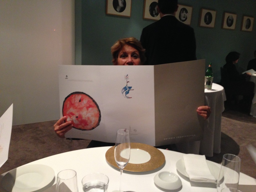 Hiding behind the menu at Osteria Francescana