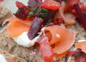 Smoked Salmon topped with roasted beet salsa