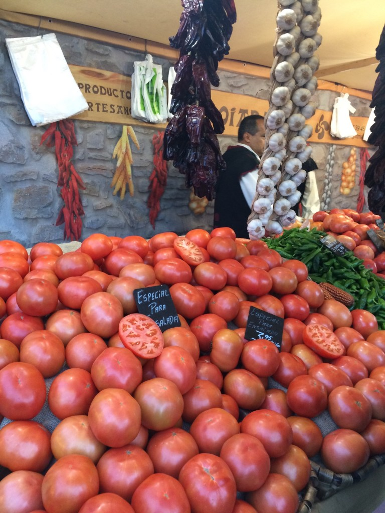 Tomatoes for sale at a market in Vitoria, Basque Country, Spain