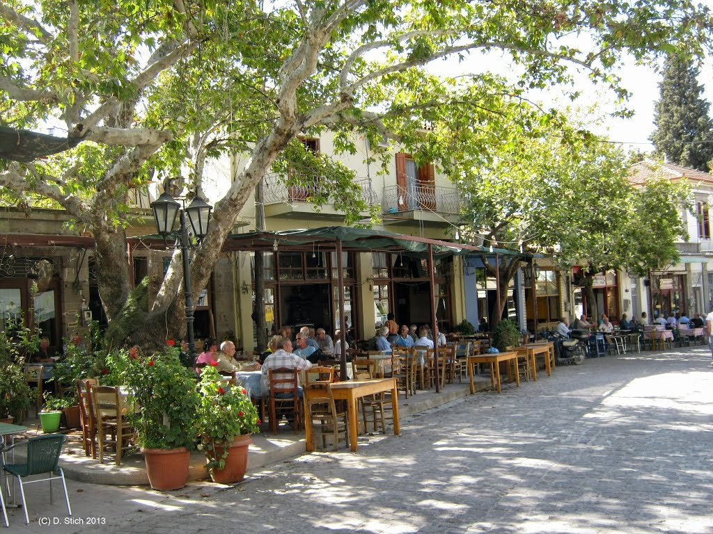 Leafy main street of the village of Agia Paraskevi, in the heart of Lesvos
