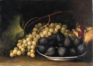 Still life of figs grapes  and pomegranate