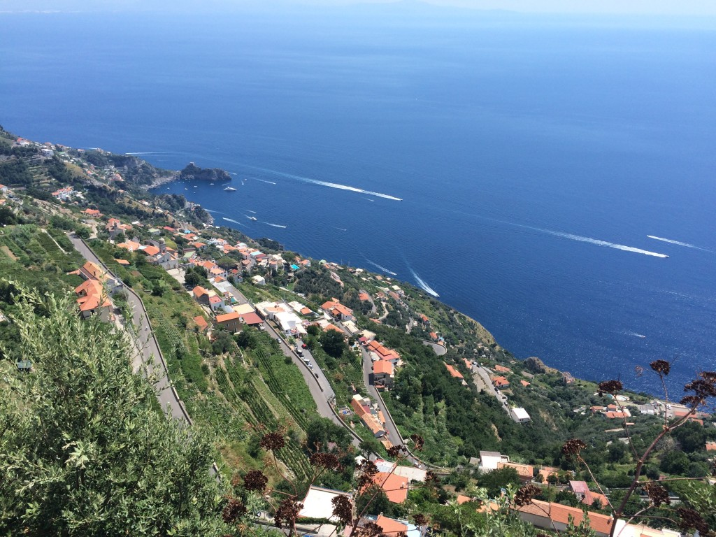 The view down to Furore and along to Amalfi from  via Casalone, Agerola