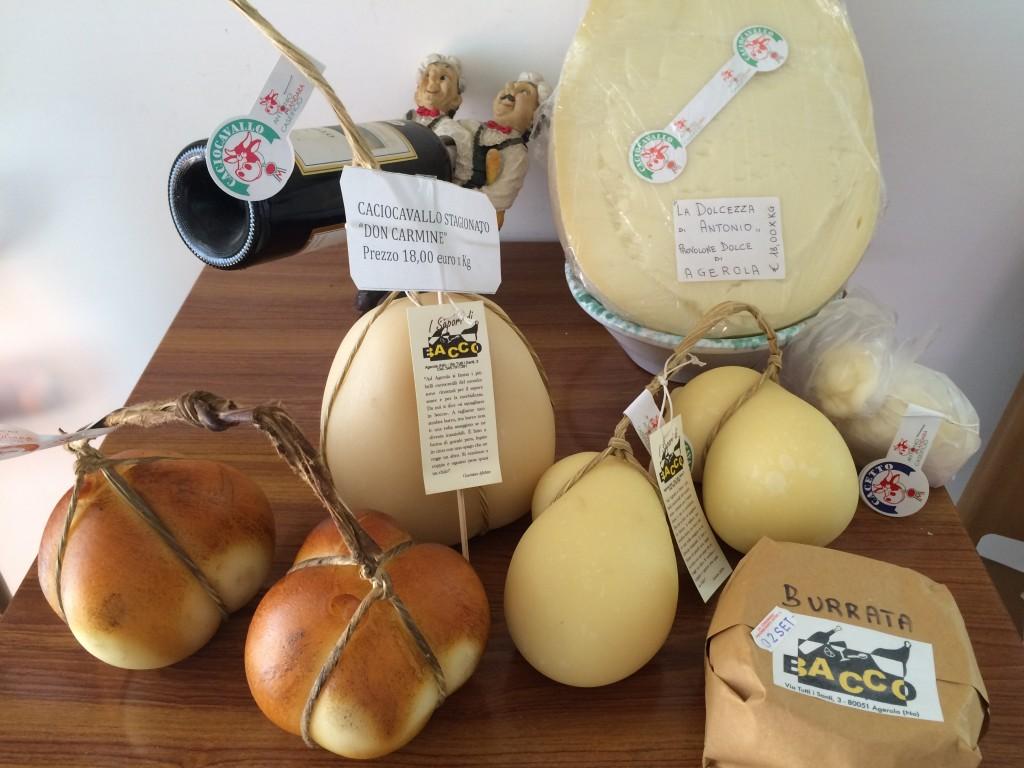 Some of the cheeses sold at 'I Sapori di Bacco', Agerola