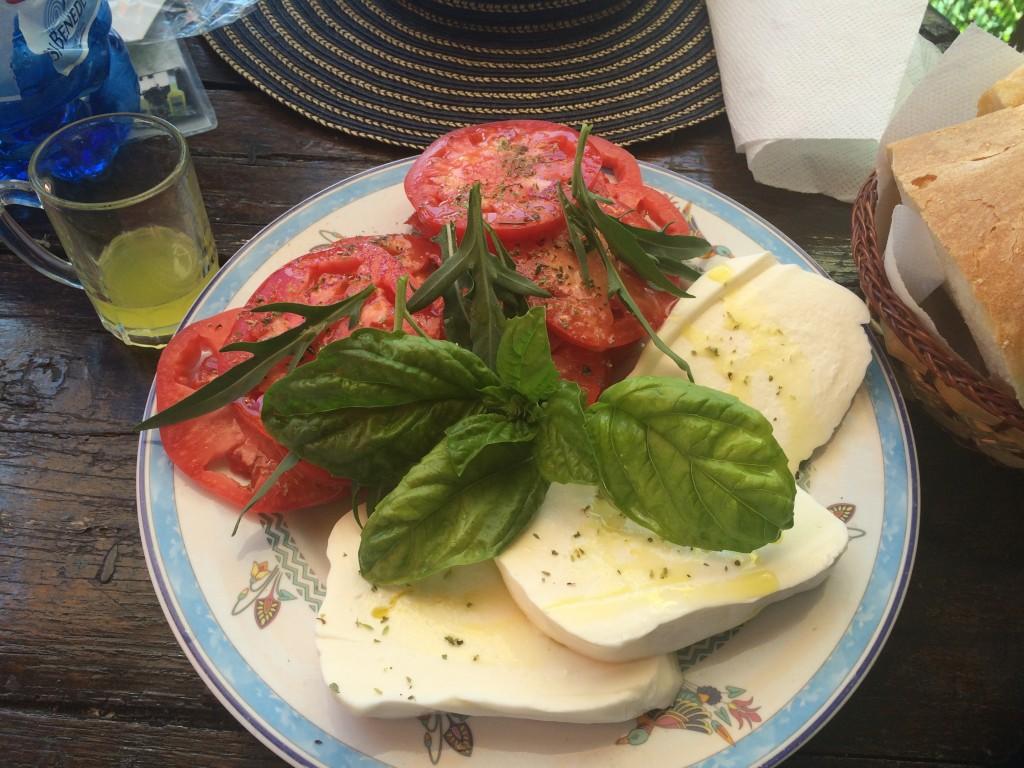 The gloriously simple Insalata Caprese made with fresh ripe tomatoes, milky mozzarella and basil at Il Chiosco del Sentiero degli Dei, above Positano