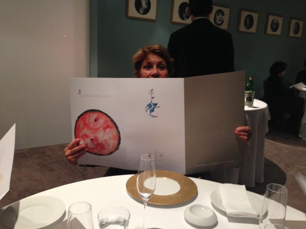 Hiding behind the menu at Osteria Francescana