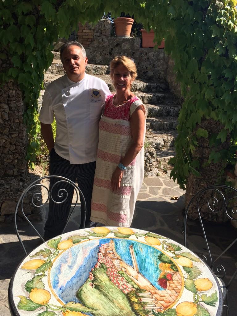 With chef Paolo Durazzo at Hotel Le Rocce, Agerola